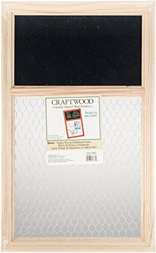 Darice 9190-9632 Unfinished Chalk Board with Chicken Wire, 13.75 by 22-Inch (Frame Wire Chicken Window)
