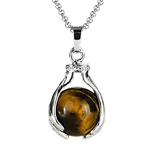 BEADNOVA Healing Natural Brown Tiger Eye Gemstone Necklace Crystal Ball Pendant Necklace with Stainless Steel Chain - Cha Chains
