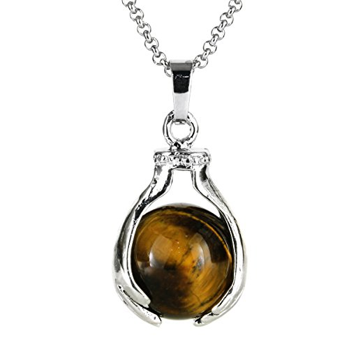 Tiger Eye Gemstone Pendant (BEADNOVA Healing Natural Brown Tiger Eye Gemstone Necklace Crystal Ball Pendant Necklace with Stainless Steel Chain 18