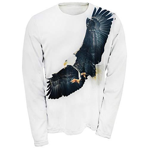 Artisans Inc Men's Bald Eagle Long Sleeve T-Shirt - Flying Bird White Tee - ()
