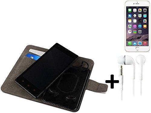 TOP SET: Schutz Hülle Case für Apple iPhone 6s, Walletcase, schwarz + Headset. Handytasche mit Kreditkartenfächern und Standfunktion. Bookstyle Klapphülle Etui Handy Case Schutzhülle. (Wir zahlen Steu