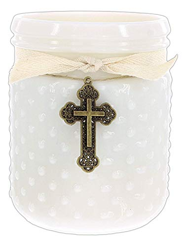 14 Ounce Soy Candle in Reusable Vintage-Style White Hobnail Glass Jar (Kitchen Lemon) ()
