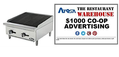 Atosa 24-Inch Char-Rock Broiler - Natural Gas and $1000 Restaurant Advertising Credit by Atosa
