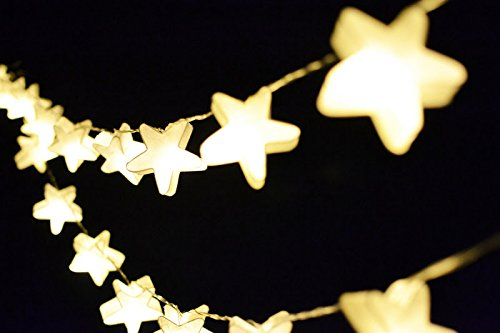 I Love Handicraft LED Battery Operated Paper String Lights For Party and Bedroom Decoration 20 Light/Set White Stars