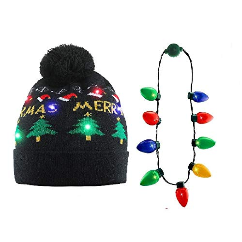 NEARTOP Christmas Xmas Light Up Bulb Necklace + Christmas Tree Flashing Beanie Hat for Christmas Decorations ()