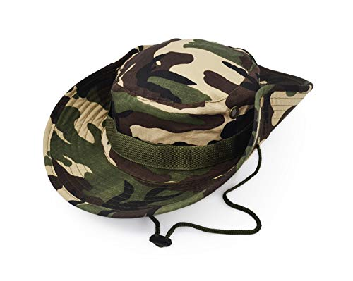 Outdoor Wide Brim Sun Protect Hat, Classic US Combat Army Style Bush Jungle Sun Cap for Fishing Hunting Camping 22