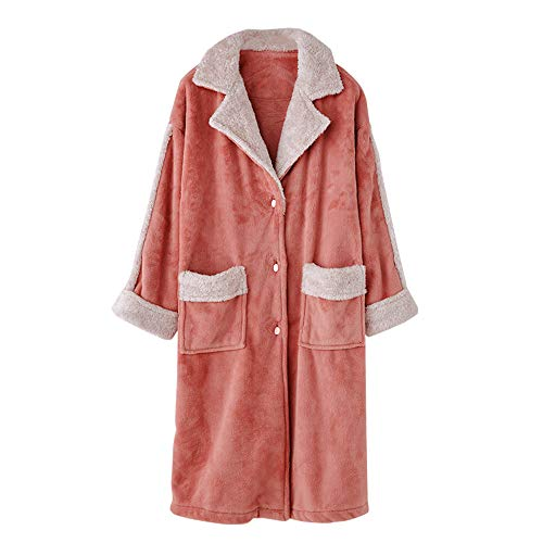 Camisón Mujer Para Hogar Pijama Larga Manga De Cálido Albornoz Retro Espesar Orange Mmllse InqREwn