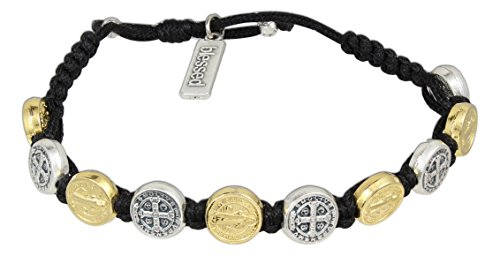 My Saint My Hero Handwoven Benedictine Blessing Bracelet, Adjustable (Gold and Silver Plated Medals on Black)