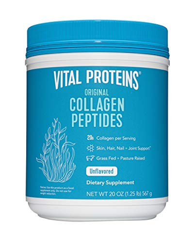 Hydrolyzed Collagen Powder - Vital Proteins Collagen Peptides Grass-Fed and Pasture Raised, dairy free, gluten free, 20 Ounce (Pack of 1) (Take Amino Acids Before Or After Workout)