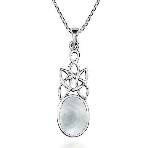 Inlay Sterling Silver Celtic Pendant - AeraVida Celtic Knot Oval Drop White Mother of Pearl Inlay .925 Sterling Silver Pendant Necklace