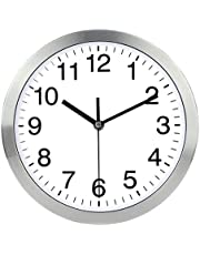 Naughty Monkey INC Wall Clock Metal Frame Glass Cover Non-ticking Number Quartz Wall Clock 12inch Modern Quartz Design Decorative Indoor/Kitchen(Silver) …