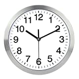 Wall Clock Metal Frame Glass Cover Non-ticking Number Quartz Wall Clock 12inch Modern Quartz Design Decorative Indoor/Kitchen(Silver)