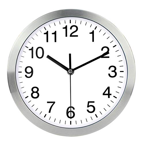 (Wall Clock Metal Frame Glass Cover Non-Ticking Number Quartz Wall Clock 12inch Modern Quartz Design Decorative Indoor/Kitchen Silver)