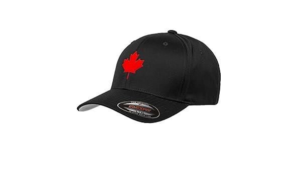 36cbb392f039e0 Amazon.com: Canada Maple Leaf Flag Hat Flexfit Premium Classic Yupoong  Wooly Combed Canadian Hat 6277 - S/M/Black: Clothing