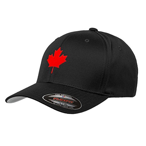 Canada Maple Leaf Flag Hat Flexfit Premium Classic Yupoong Wooly Combed Canadian Hat 6277 - S/M/Black (Canada Toronto Hat)