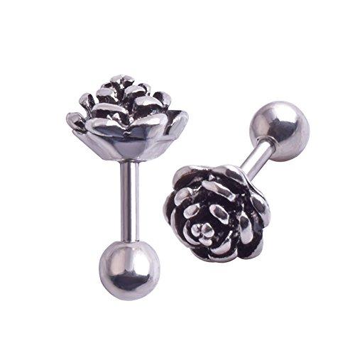 16g Dainty Rose Flower Stainless Steel Stud Earrings Tragus Helix Conch Cartilage Ear Piercing (2 Pcs - Piercing Conch Ear
