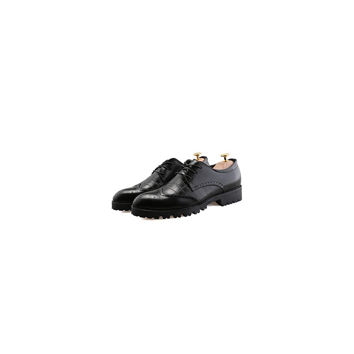 Bangxiu Scarpe In Pelle Da Uomo Business Casual Morbida Oxford Nuova Linea Brogue Dal Basso Spessore Lavoro Comode Formale color Nero Dimensione 41 Eu