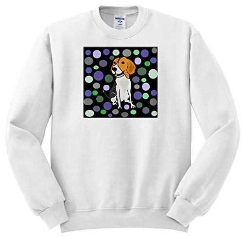 All Smiles Art - Pets - Funny Cute Beagle Hound Dog and Circle Pattern Abstract Art - Sweatshirts - Adult Sweatshirt 2XL (ss_294541_5) ()
