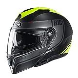 HJC Unisex-Adult Flip-Up i90 Modular Helmet, Davan (Black/Grey/Hi-Viz Yellow, Md)