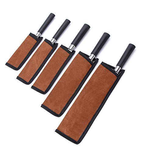 5Pcs Universal Chef Knife Guard Set,Waxed Canvas Chef Knife Sheath Edge Protectors,Waterproof Knife Tool Cover for Chef,Serrated,Japanese,Paring Knives,Heavy-Duty Safety and ProtectionCYGJB851(Brown)