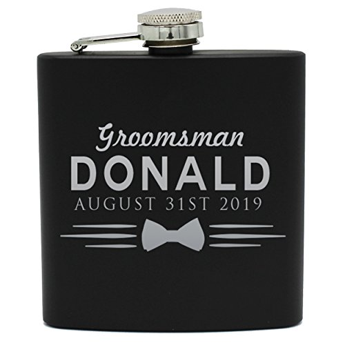 Set of 4, Set of 7 and more Custom Personalized Black Matte Flasks for Groomsmen Gifts - Uniform Style (8) by My Personal Memories (Image #3)