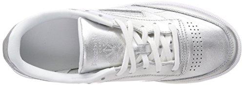 Reebok Tenis Zapatillas Para silver Shine Mujer white Plateado 000 De C S Club 85 fxZwprfAq