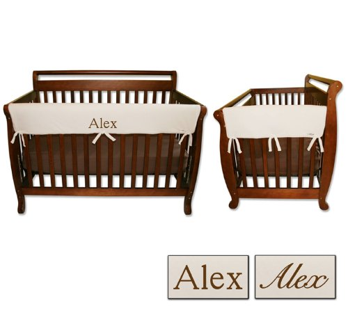 Personalized Embroidered Monogram or Name 3pc Trend Lab Crib Wrap Rail Guard Set, Natural by Trend Lab (Image #4)
