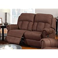Chocolate Microfiber Motion Recliner Loveseat by Poundex