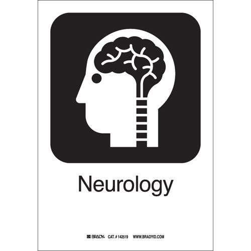 Brady 142411 Black on White Aluminum ''Neurology'' Symbol Label, 10'' H x 7'' W