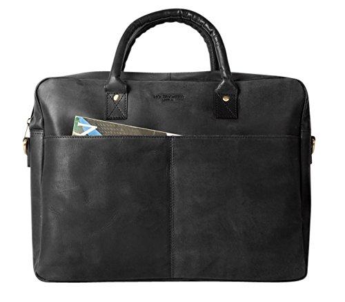HOLZRICHTER Berlin - Briefcase (M) Premium Aktentasche aus Leder - Elegante große Tragetasche, Laptoptasche für Ordner und Laptop - Herren, camel-braun HR-BC-1-1_c