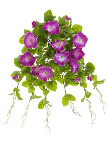 Floral Home Outdoor Artificial Petunia Hanging Bush in Purple - 20
