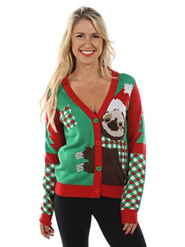 Tipsy Elves Women's Sloth Ugly Christmas Sweater: Medium (Christmas Sloth)