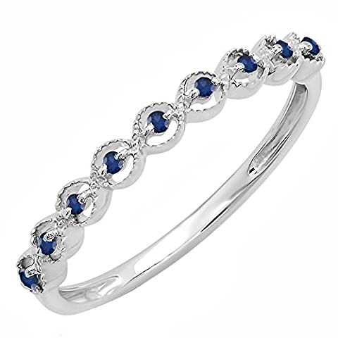 Sterling Silver Round Blue Sapphire Ladies Anniversary Wedding Stackable Band Ring (Size 7) - Silver Wedding Collection