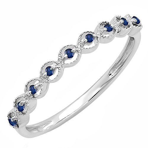 DazzlingRock Collection Sterling Silver Round Blue Sapphire Ladies Anniversary Wedding Stackable Band Ring (Size (Sapphire Fashion Stackable Ring)