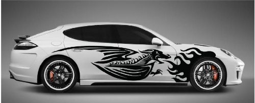 Furious Flaming Dragon Side Car Decals Sticker Vinyl