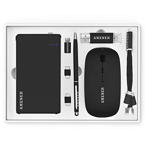 (AMENER Combo Easter Personalized Gift, Portable Power Bank Wireless Mouse USB 32GB 3.0 Flash Drive Stylus Pen Type C Convert Data Cable Triad Included, Best Gifts for Him & Her, Customized - Black)