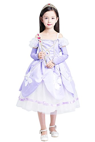 [YMING Girls Purple Princess Sofia Long Sleeve Dress Halloween Fairy Costume 9-10 Years] (Red Indian Princess Costume)