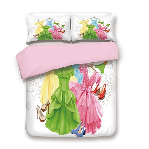 Pink Duvet Cover Set,Queen Size,Princess Outfits Bikini Shoes Wardrobe Party Costumes Girls Room Decor,Decorative 3 Piece Bedding Set with 2 Pillow Sham,Best Gift for Girls Women,Multicolor ()
