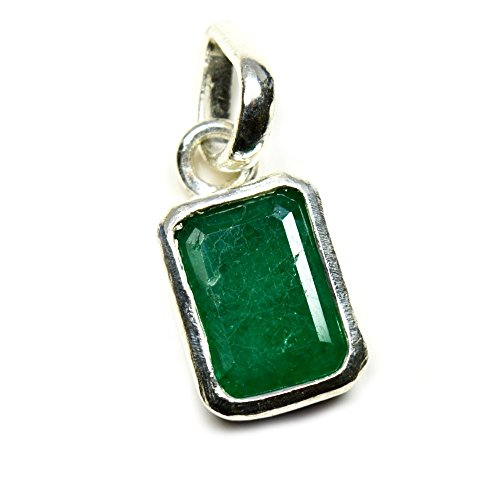 Jewelryonclick Emerald Simple Pendant Charm 6 Carat Natural Genuine Square Gemstone 92.5 Sterling Silver