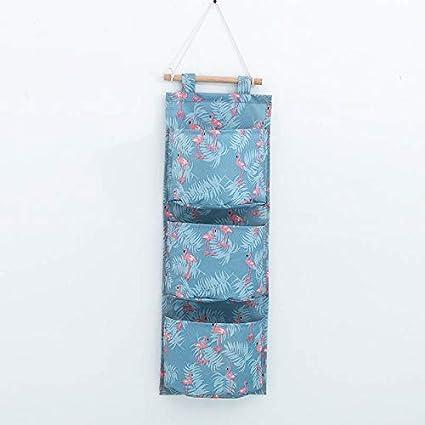 943b5662df Amazon.com  1 PC Cotton Linen Wall Hanging Storage Bag 3 Pockets Wall  Mounted Wardrobe Hang Bag Wall Pouch Cosmetic Toys Organizer Flamingo   Kitchen   ...