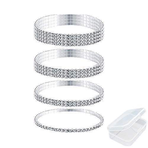 PPX 4 Pieces Rhinestone Stretch Bracelet Anklet Crystal Bracelet Silver Tennis Bracelet Wedding Jewelry for Women- with Transparent Storage Box