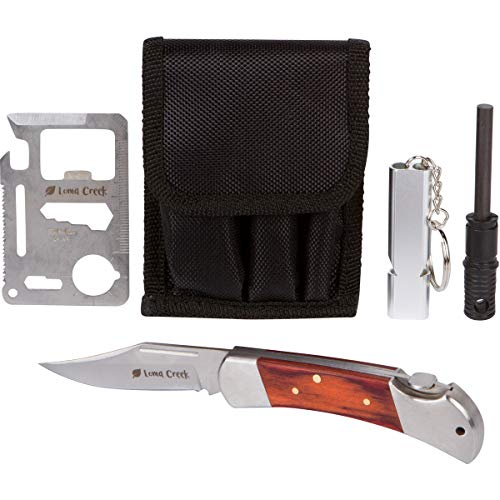 Ultimate Survival Kit with pocket knife,11-in-1 tool card, emergency whistle, and fire starter. Button on knife lock makes it easy to close for kids, seniors, or those with weak hands