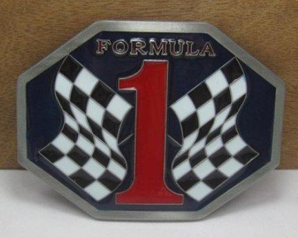 Bullzine Formula 1 Belt Buckle with pewter finish suitable t for 1 1/2
