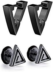 Yesallwas 2 Pairs Men Women Punk Stainless Steel Triangle Shape Design Hoop Earrings Triangle Stud Earrings Se