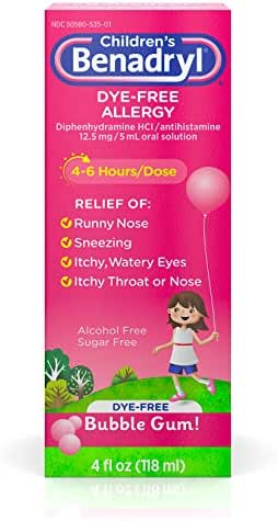 Children's Benadryl Dye-Free Allergy Liquid with Diphenhydramine HCl, Bubble Gum Flavor, 4 fl. oz