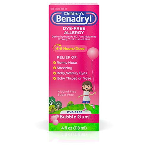 - Children's Benadryl Dye-Free Allergy Liquid with Diphenhydramine HCl, Bubble Gum Flavor, 4 fl. oz
