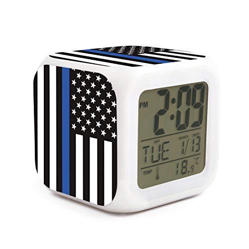XUWU LCD Alarm Thin Blue Line American Police Flag Kids Alarm Clock - Touch Control ()
