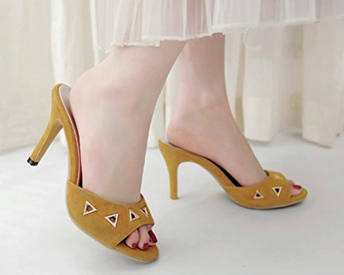 Sandals Slipper Size Metal Stilettos Fashion 11 Toe Colors Peep Clogs Mules Yellow 4 Women's Candy Hiease And 7O4qcfAwW