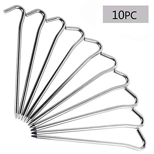RIY 7 Camping Tent Stakes Aluminum Lightweight Garden Canopy Stakes Pegs Bags 10pcs