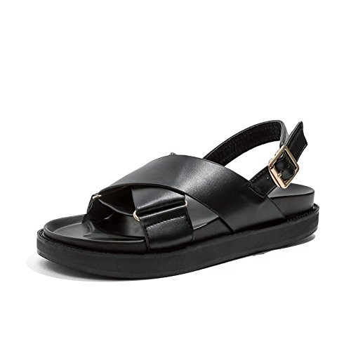YMFIE Sandalias Planas Negras Lady Summer Fashion Retro Sandalias Antideslizantes, 36 UE 35 EU